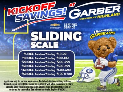 Sliding Scale - Save up to $50 off next service