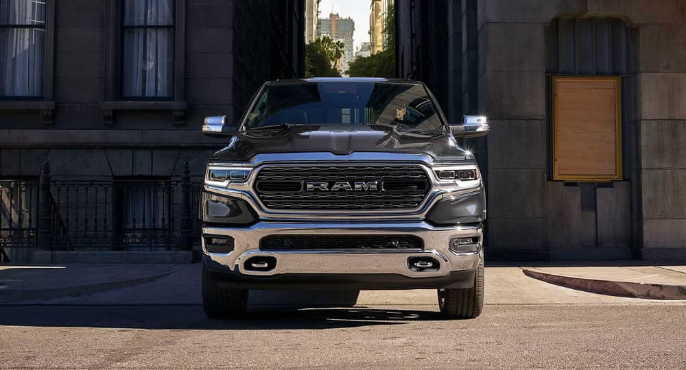 2019 Ram 1500 driving down city alley