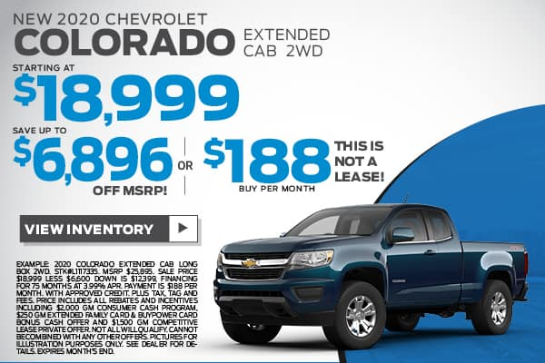 NEW 2020 Chevrolet Colorado Extended Cab 2WD