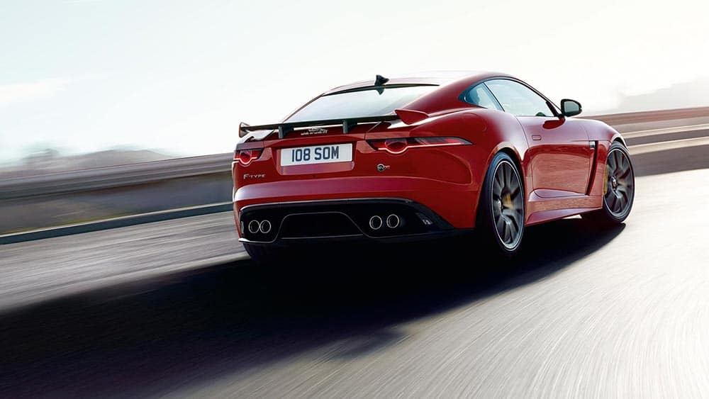 Rear View of 2019 Jaguar F-TYPE Coupe Driving