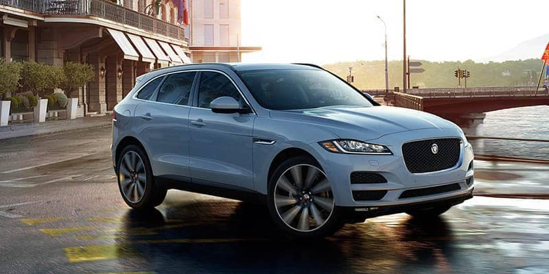 2018 Jaguar F-PACE Driving Around a Curve