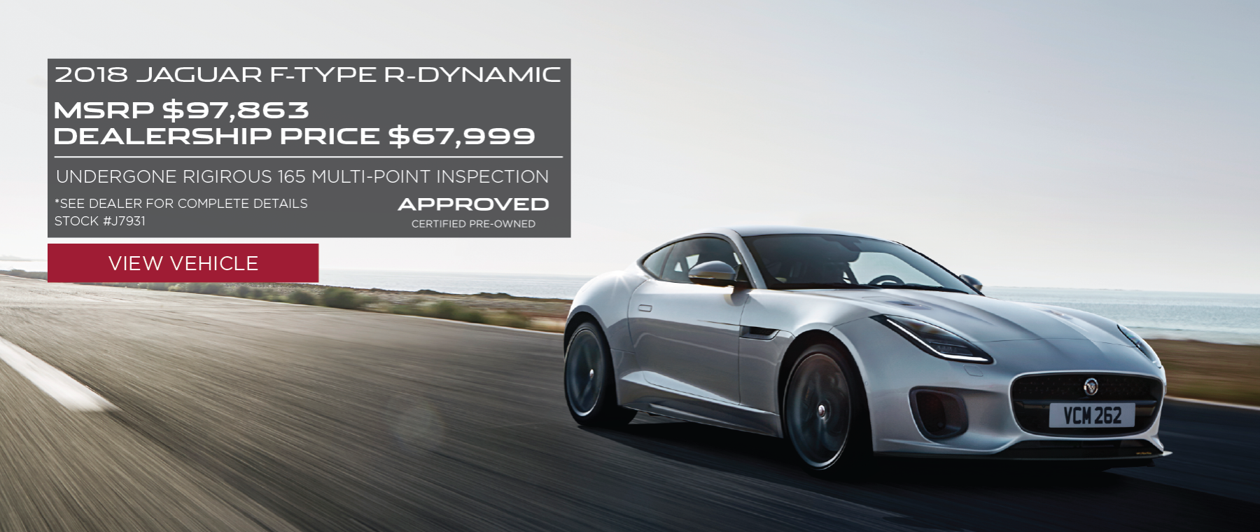 White 2018 Jaguar F-TYPE on road with sunset in background. R-Dynamic. MSRP $63,308 Dealership price $44,999 Stock #J7931 . Click to view vehicle.