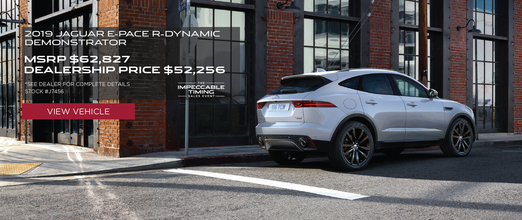 White 2019 Jaguar E-PACE R-Dynamic on street in front of building. MSRP $62,827 Dealership Price $ 52,256 Stock # J7456. See dealer for complete details. Offer expires 2/29/2020