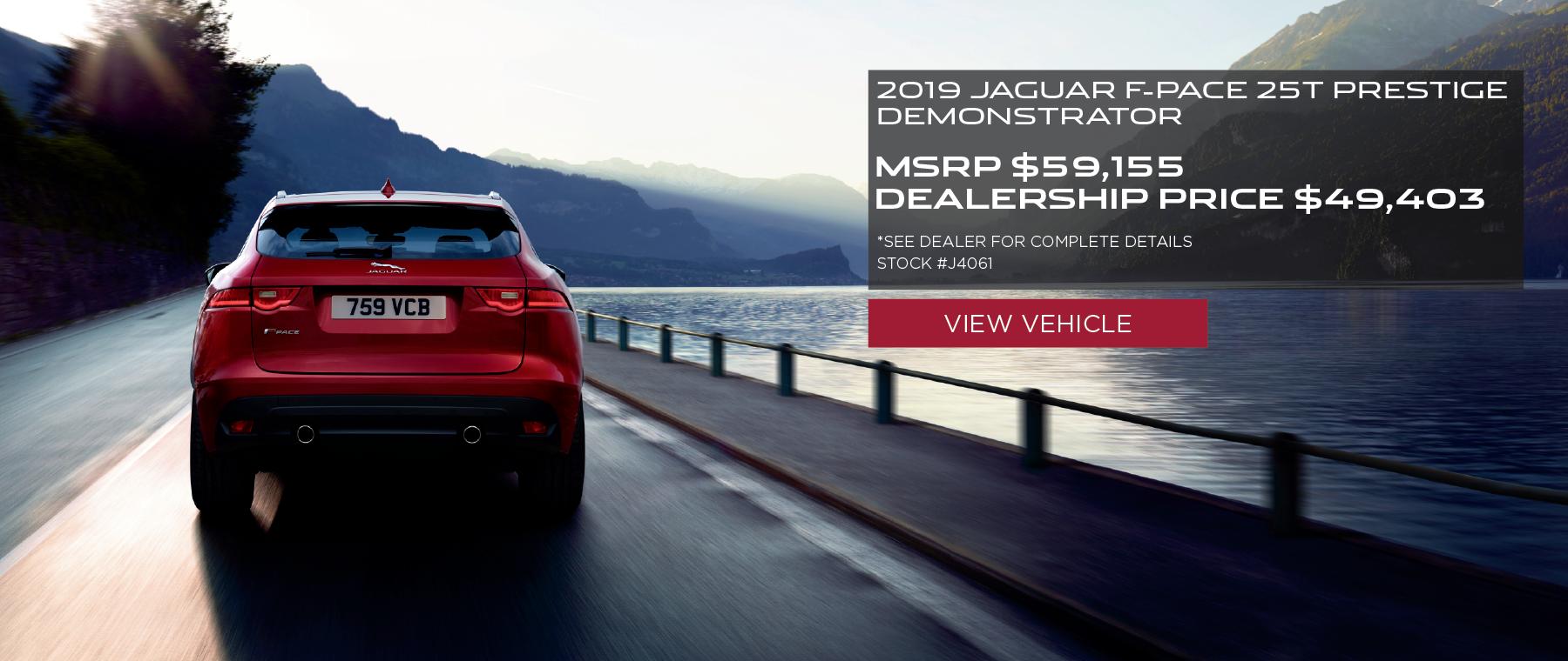 Red 2019 Jaguar F-PACE 25t Prestige Stock on bridge. MSRP $59,155 Dealership Price $49,403 Stock # J4061 . Click to view vehicle. See dealer for complete details.