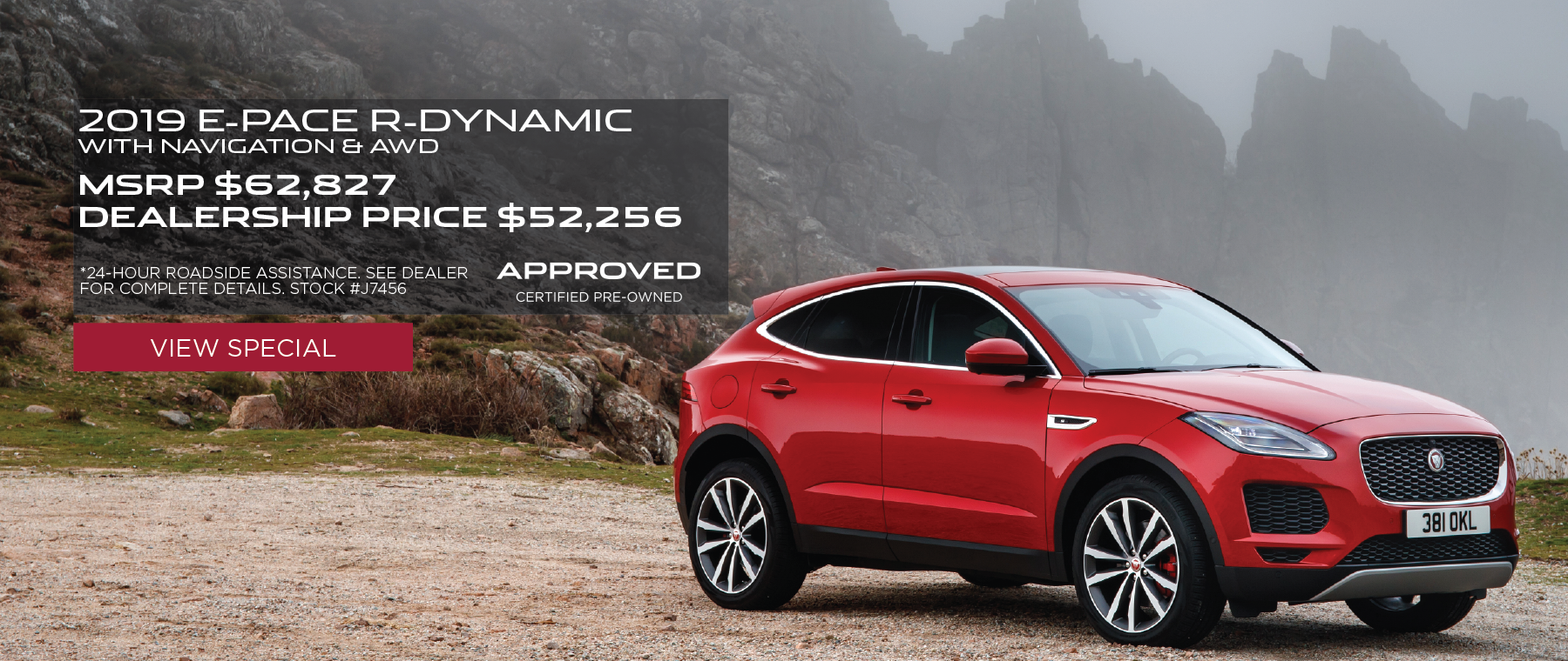 Stock #J7456 – Red 2019 E-PACE R-Dynamic with Navigation & AWD in front of mountains. MSRP - $62, 827 Dealership Price - $52,256. See dealer for complete details. *24-hour roadside assistance.