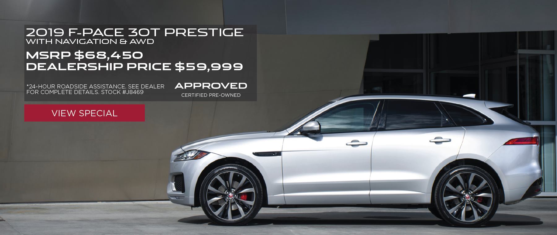 Stock #J8496 – Silver 2019 F-PACE 30t Prestige with Navigation & AWD in front of building. See dealer for complete details. *24 hour roadside assistance. MSRP $68,450 Dealership price $59,999.