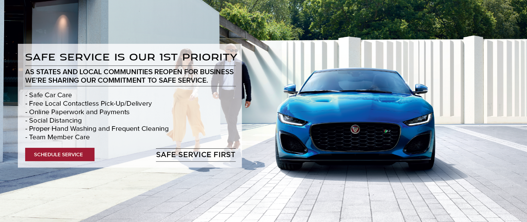 Blue 2021 F-Type in white driveway. Safe service first. Click to schedule service.