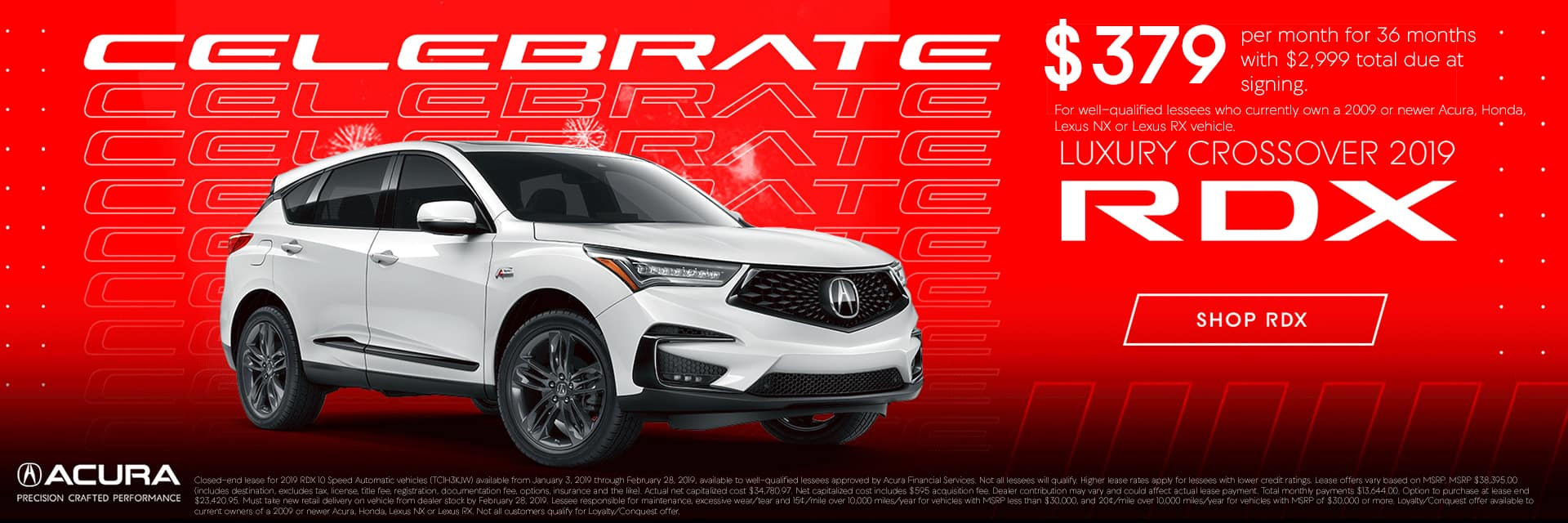 2019 Acura RDX for $379 Conquest Offer