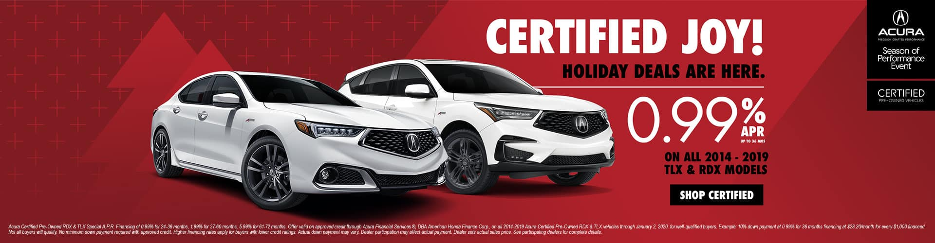Certified Joy! Special Acura Certified Pre-Owned Rates