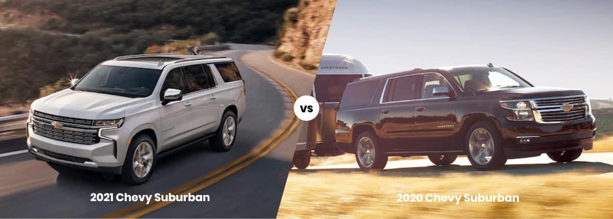 2021 Chevy Suburban vs 2020 Model Comparison Banner