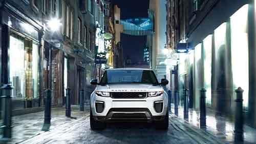 2018 Land Rover Range Rover Evoque driving through a city street