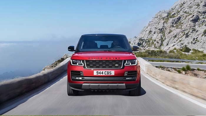 2018 Land Rover Range Rover Driving Through The Mountains Front End View