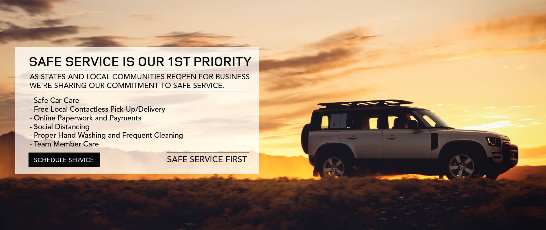 Silver 2020 Land Rover Defender on road with sunset. Safe service first. Click to schedule service.
