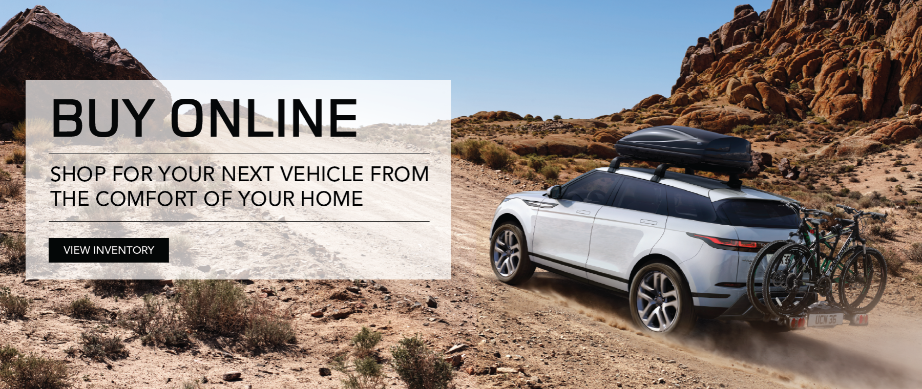 White 2020 Range Rover Evoque on uphill dirt road with bike rack. Buy online - purchase your next vehicle from the comfort of your home. Click to view inventory.