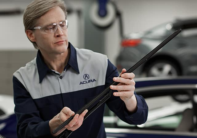Acura Technician Holding Wiper blade