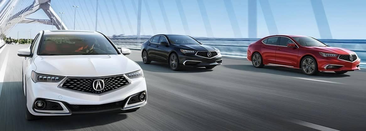 Three 2020 Acura TLX models on bridge