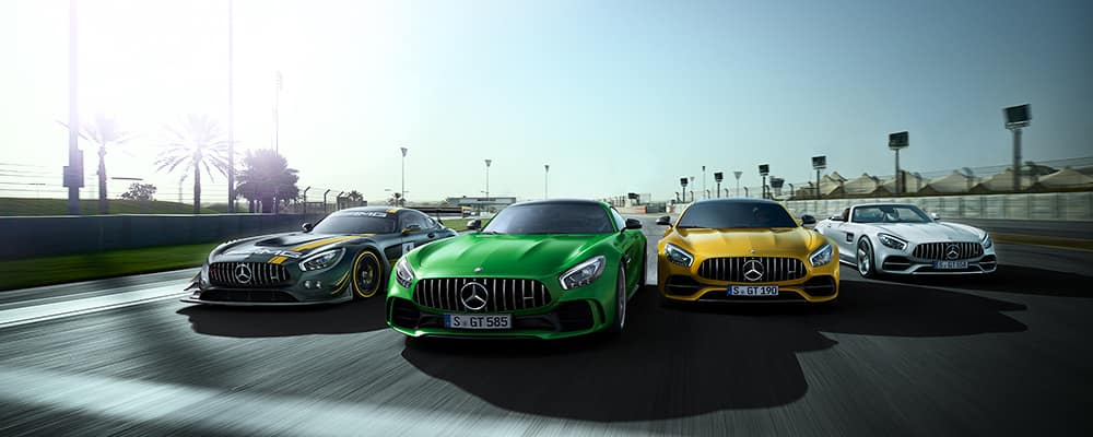 front view of four AMG models driving on a track with palm trees in the background