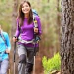 Hikers on a trail in the forest
