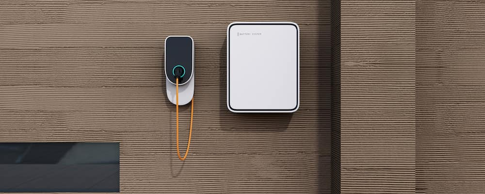 Home electric charging station and battery on the wall