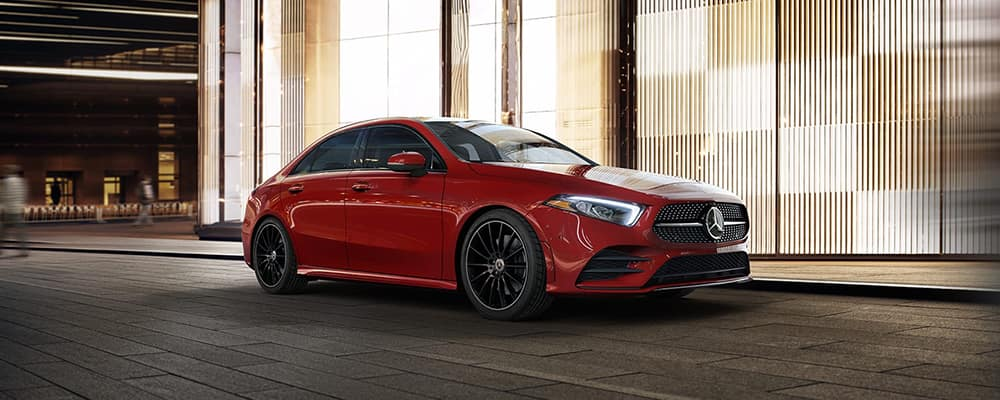2020 Mercedes-Benz A-Class red driving in city