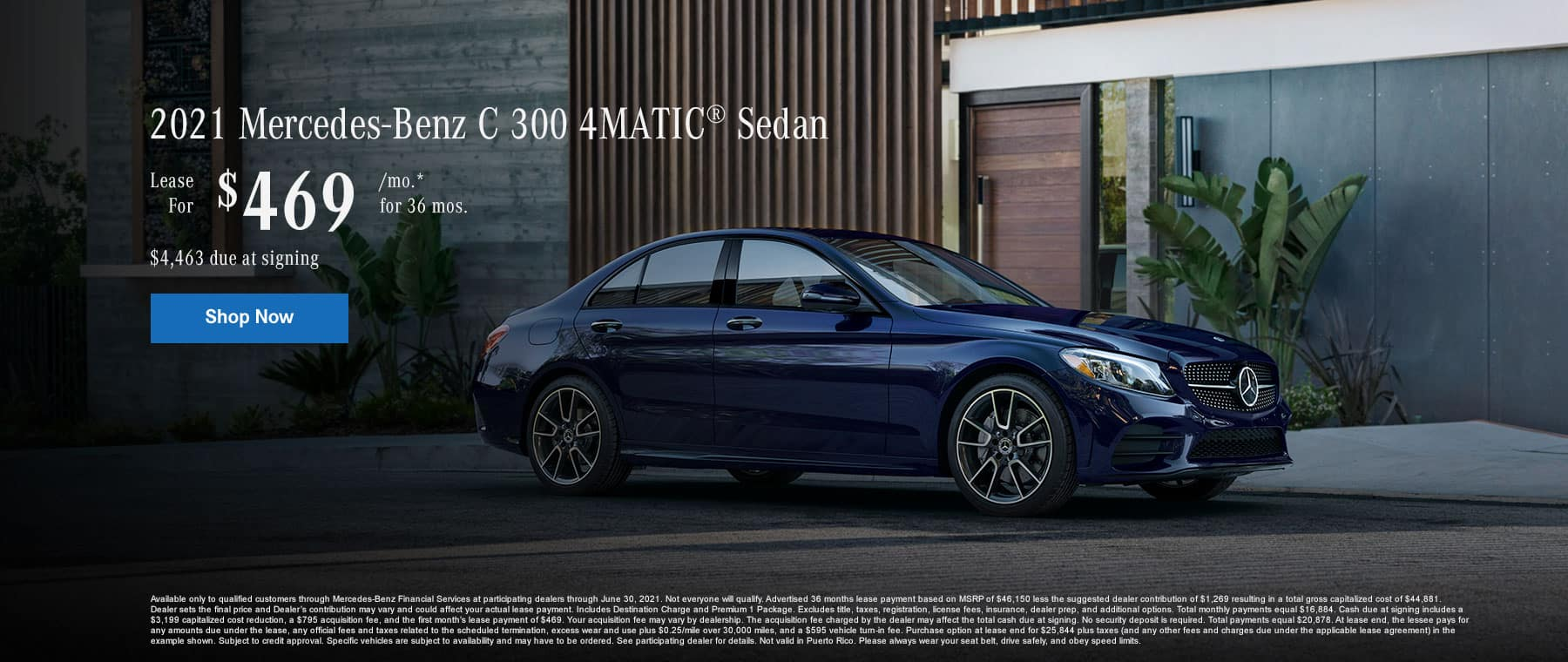 2021 Mercedes-Benz C 300 4MATIC® SUV Lease for $469/month for 36 months. $4,463 due at signing