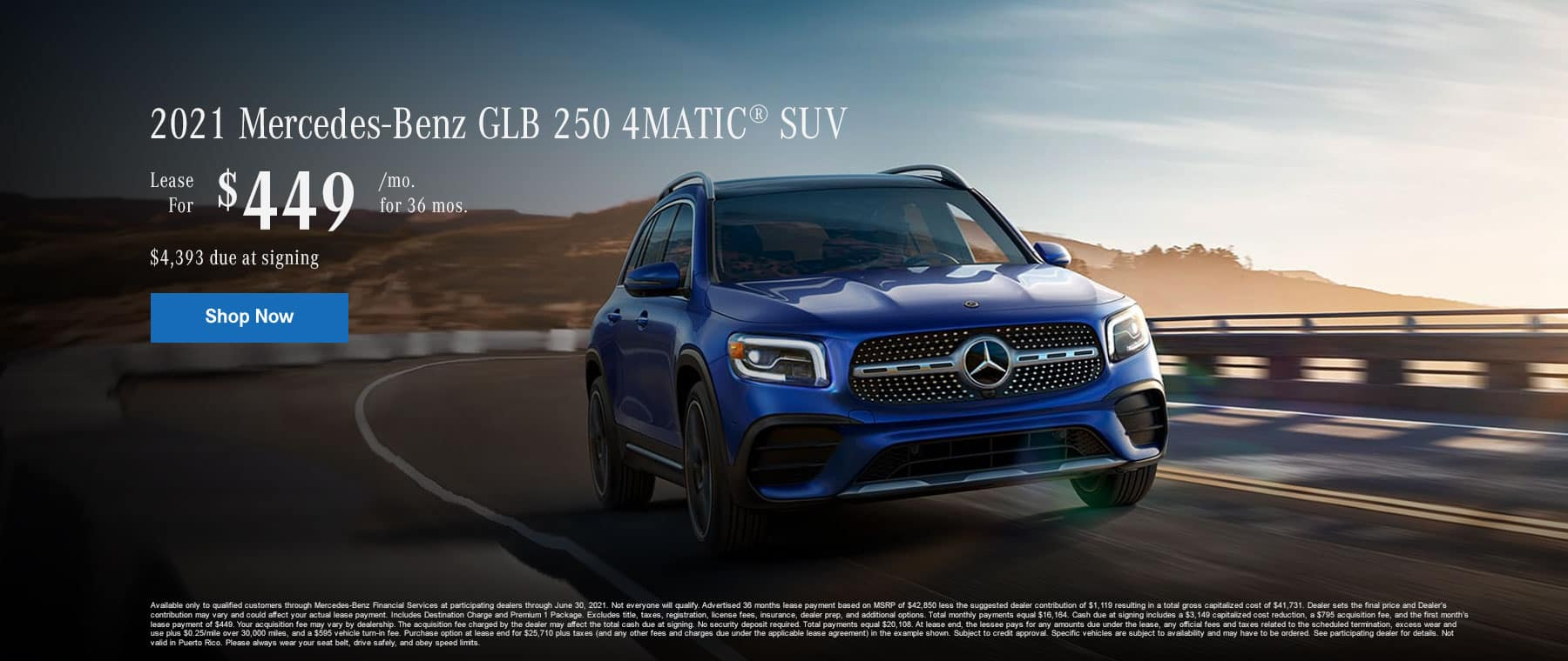 2021 Mercedes-Benz GLB 250 4MATIC® SUV Lease for $449/month for 36 months. $4,393 due at signing