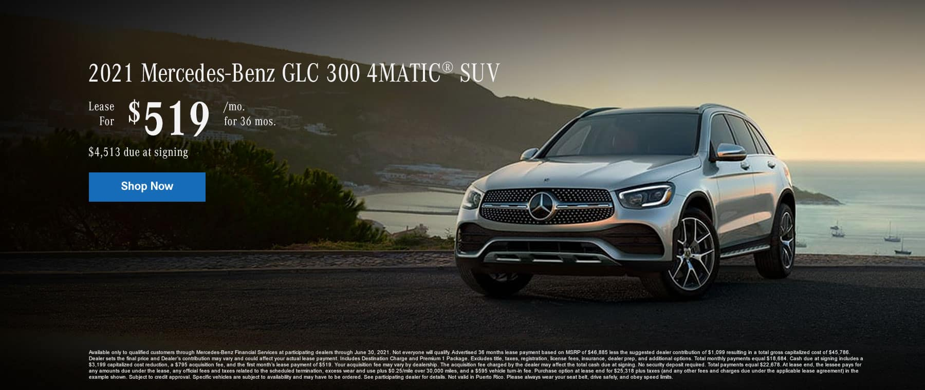2021 Mercedes-Benz GLC 300 4MATIC® SUV Lease for $519/month for 36 months. $4,513 due at signing