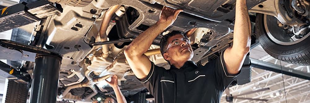 MB Technician Under Car