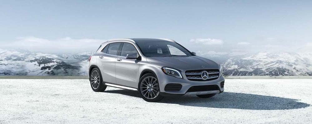 Exterior of 2019 GLA SUV parked on snowy ground