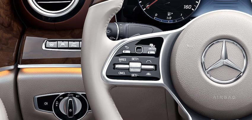 Close up of E-Class steering wheel