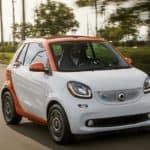 White and Orange SmartCar