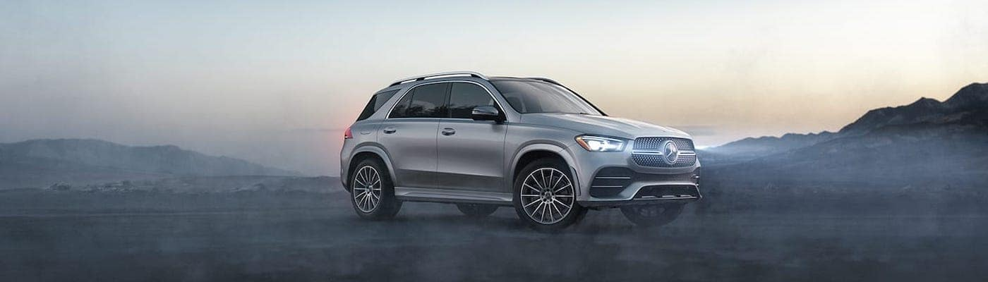 2020 mercedes-benz gle silver exterior with misty background