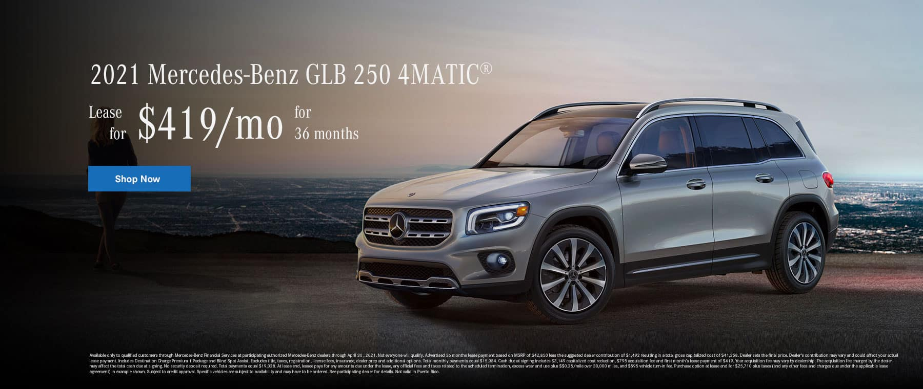2021 Mercedes-Benz GLB 250 4MATIC - $419/mo for 36 months