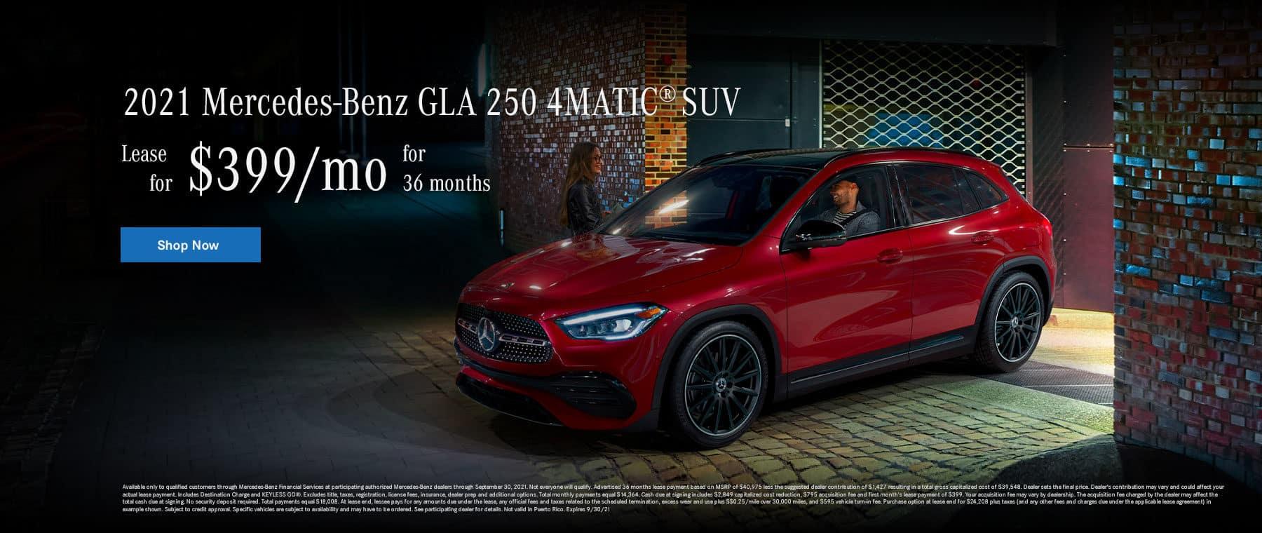 Mercedes-Benz GLA 250 4-MATIC- $399 / 36 mos
