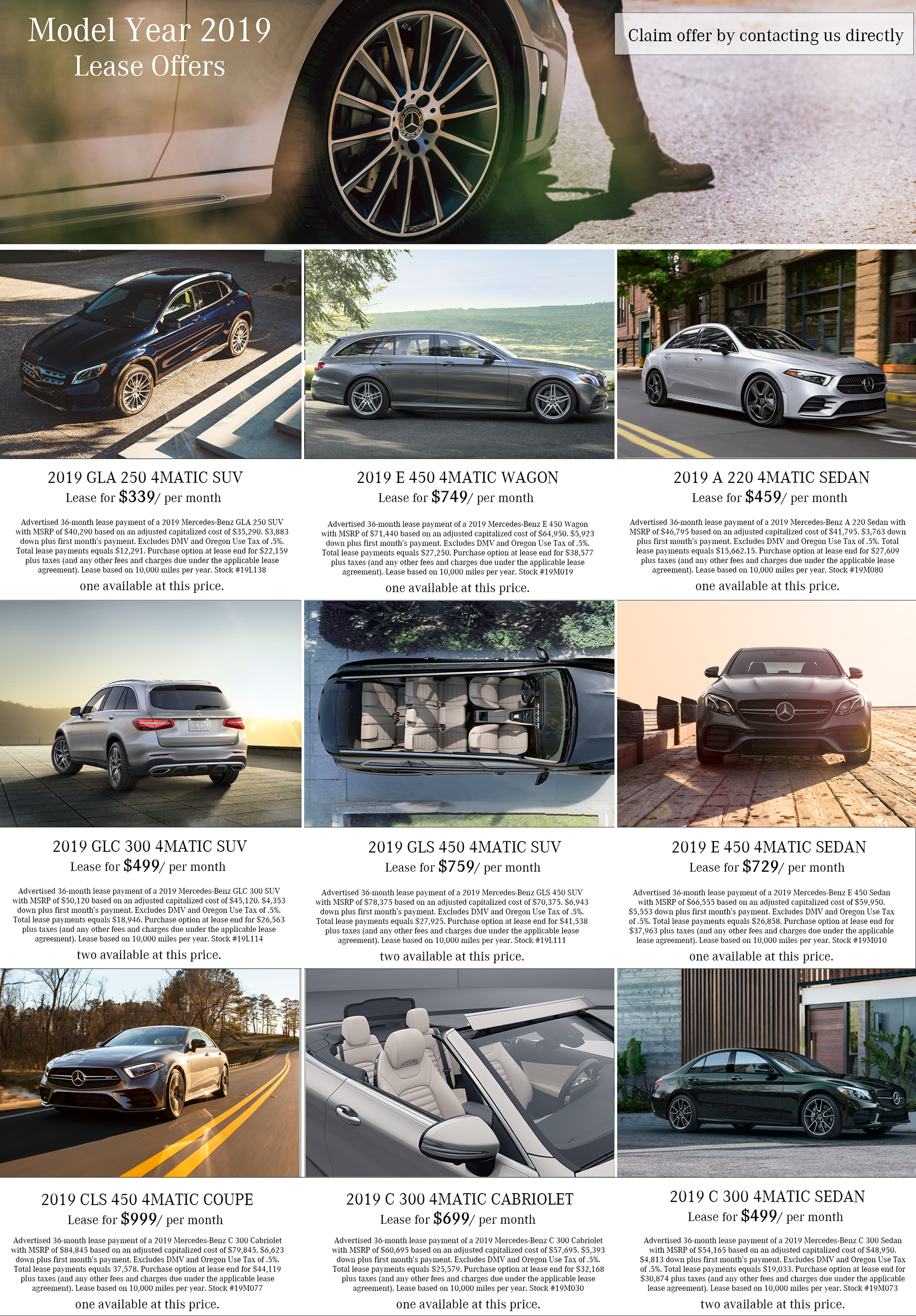 Mercedes-Benz Lease Specials on 2019 Models