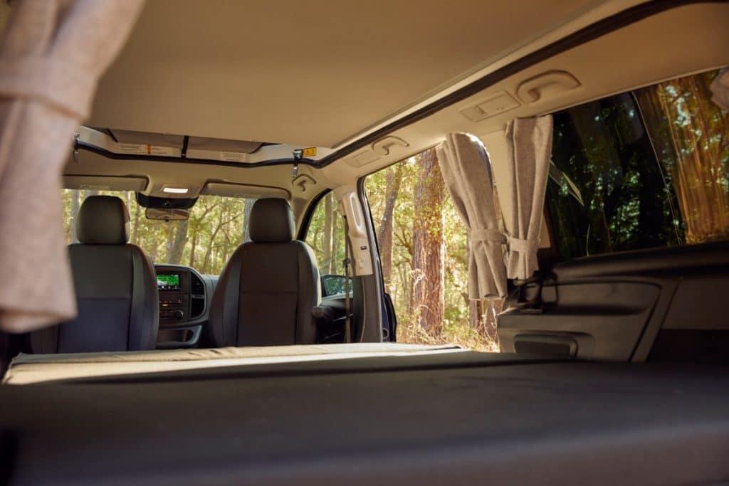 Metric Weekender interior from back seat
