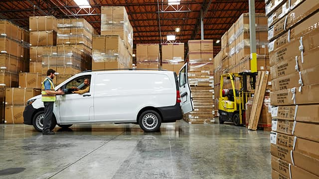 2018 Mercedes-Benz Metris Cargo van among boxes