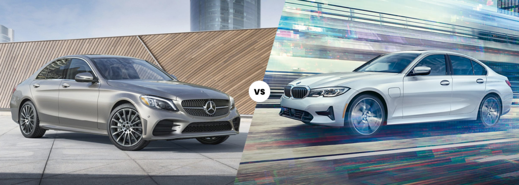 Exterior view of the 2021 Mercedes-Benz C-Class vs 2021 BMW 3 Series