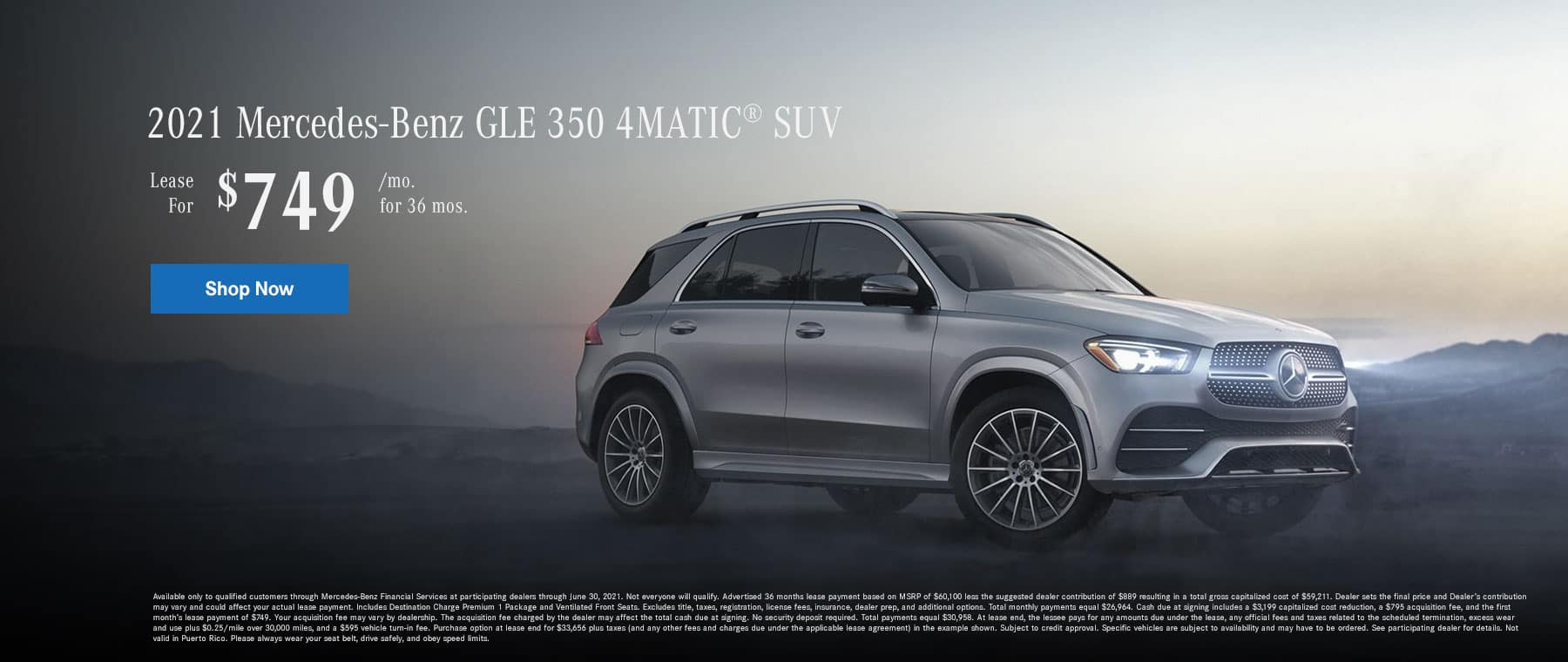 2021 Mercedes-Benz GLE 350 4MATIC® SUV. Lease for $749 Per Month for 36 Months