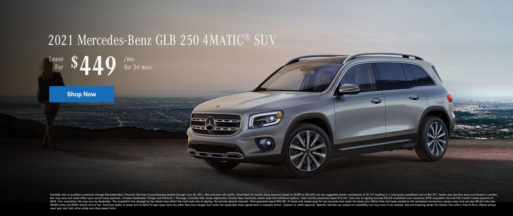 2021 Mercedes-Benz GLB 250 4MATIC® SUV. Lease for $449 Per Month for 36 Months