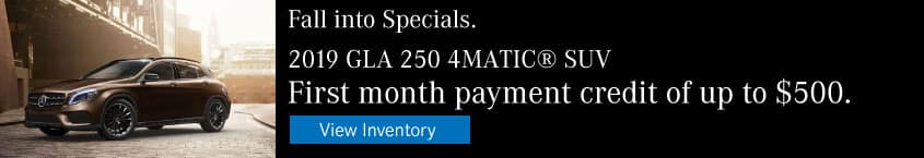 2019 GLA 250 First Month Payment Credit