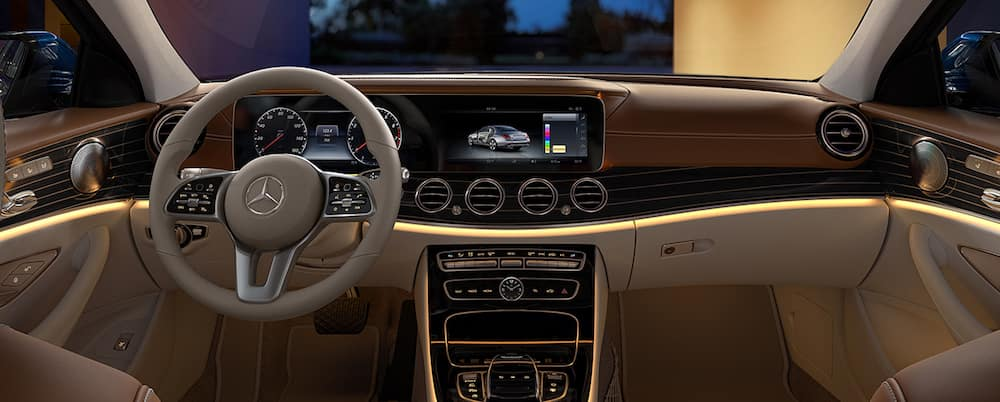 E-Class interior with tan leather seating and dashboard