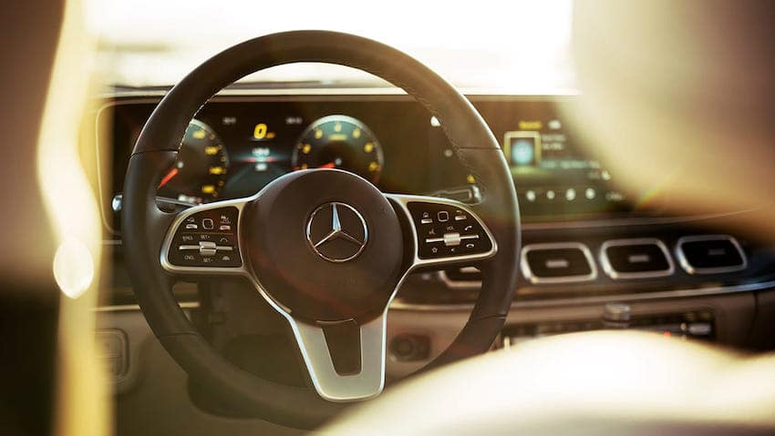Close up of Mercedes-Benz GLE steering wheel with sun shining