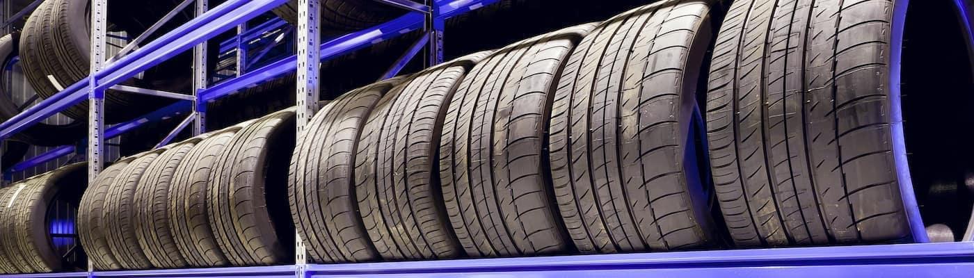 Tires on a Rack