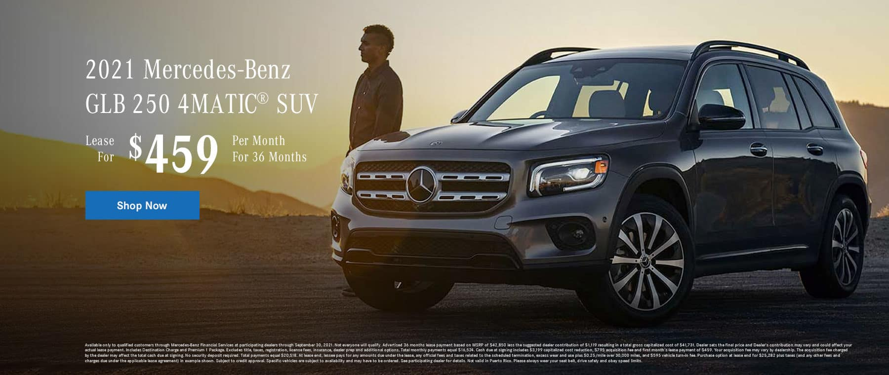 2021 Mercedes-Benz GLB 250 4MATIC® SUV Lease for $459 Per Month for 36 Months