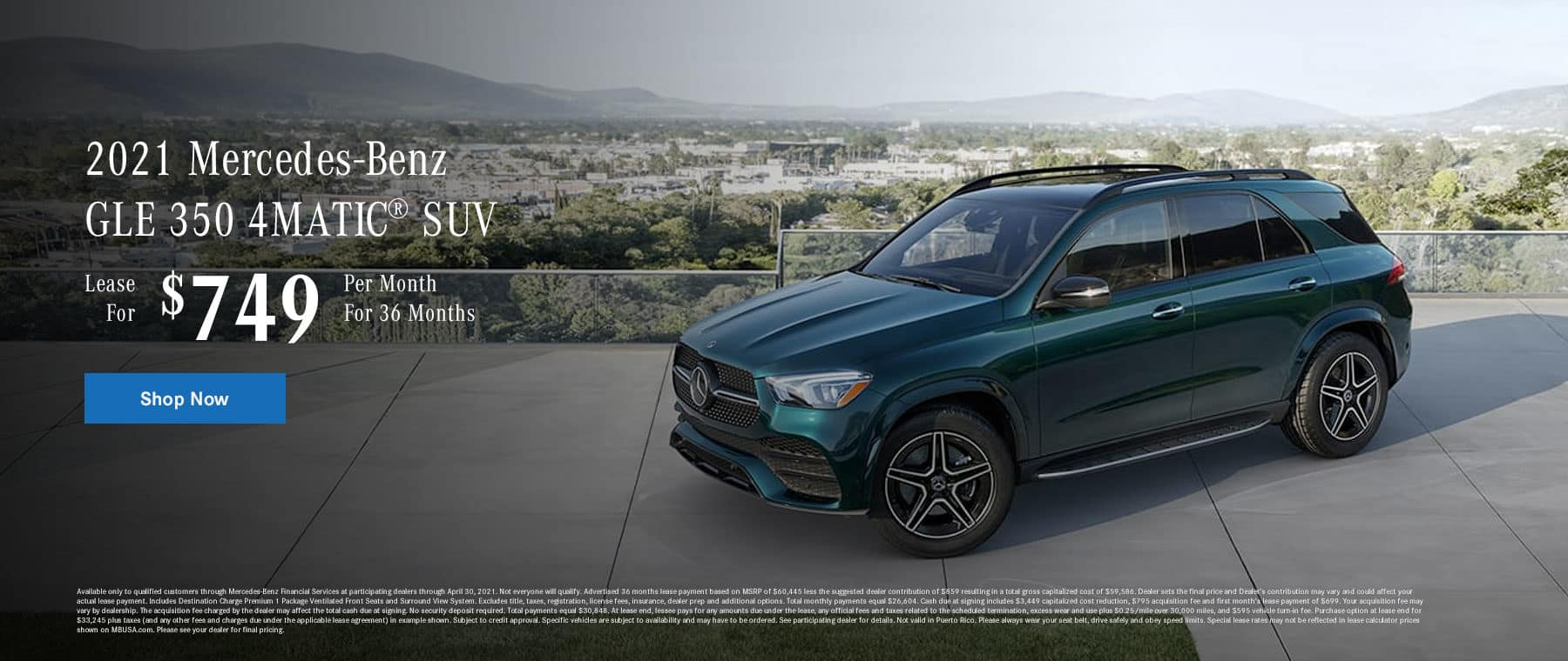 2021 Mercedes-Benz GLE 350 4MATIC® SUV, Lease for $749 Per Month for 36 Months