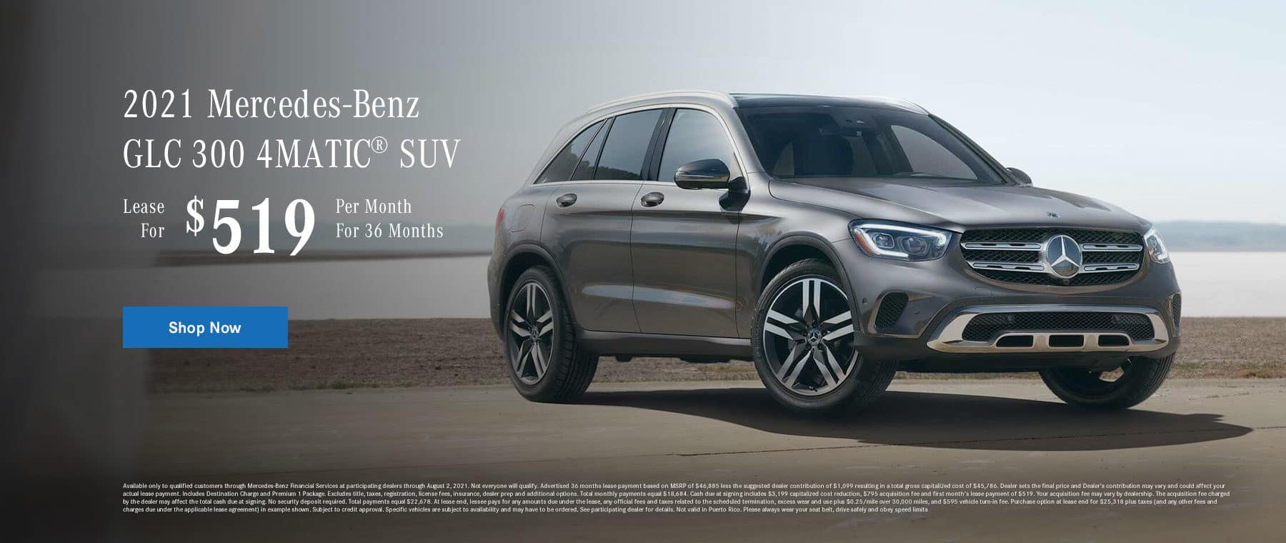 2021 Mercedes-Benz GLC 300 4MATIC® SUV, Lease for $519 Per Month for 36 Months