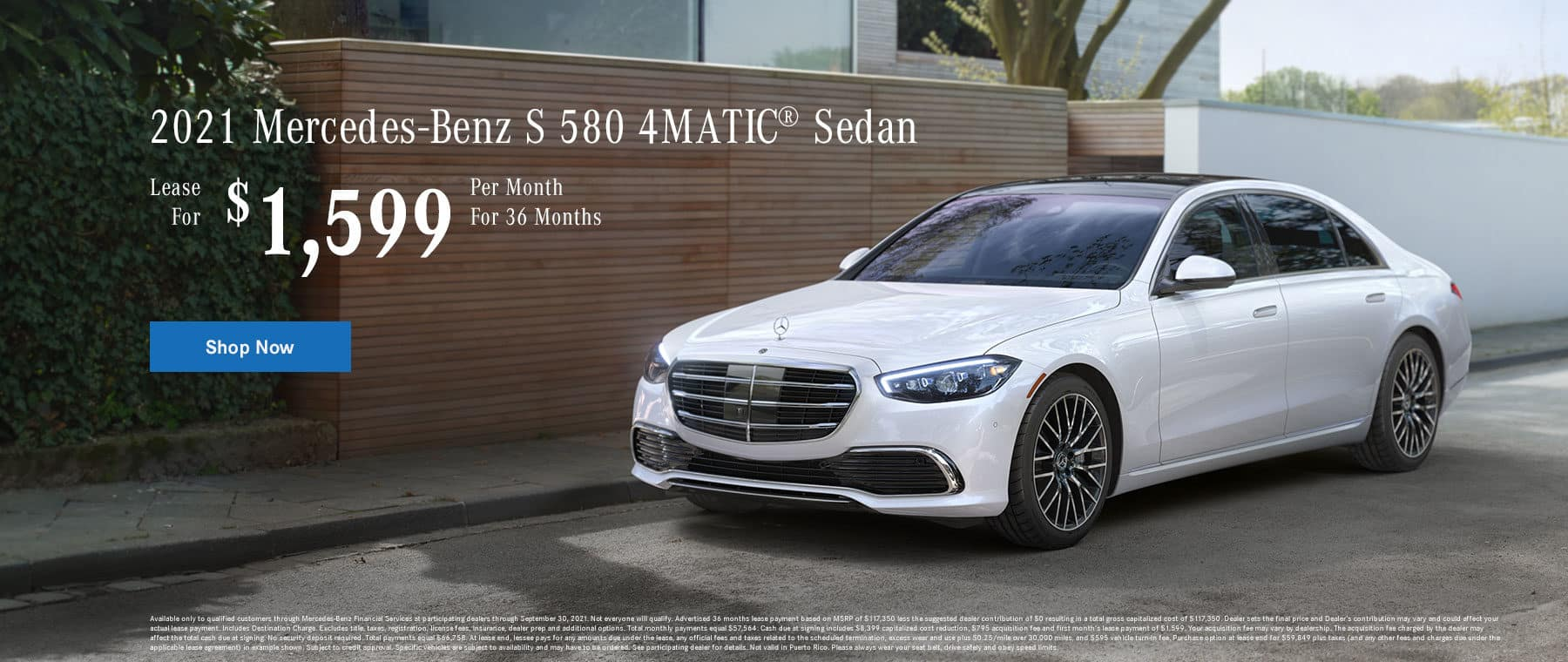 2021 Mercedes-Benz S 580 4MATIC® Sedan Lease for $1,599 Per Month for 36 Months