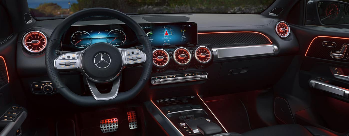 Red Mercedes-Benz dashboard