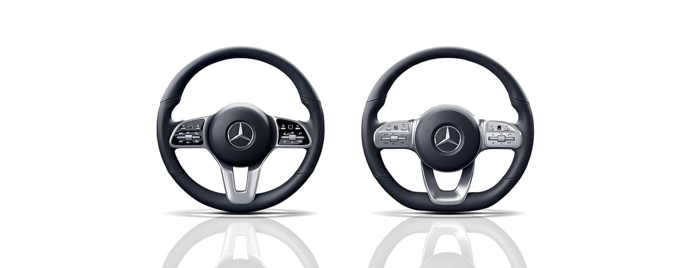 Two Mercedes-Benz steering wheels